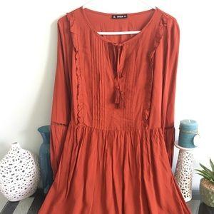 Boho burnt orange dress